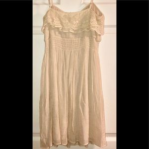 NWT POETRY Cream Lace Ruffle Neckline Dress Sz M